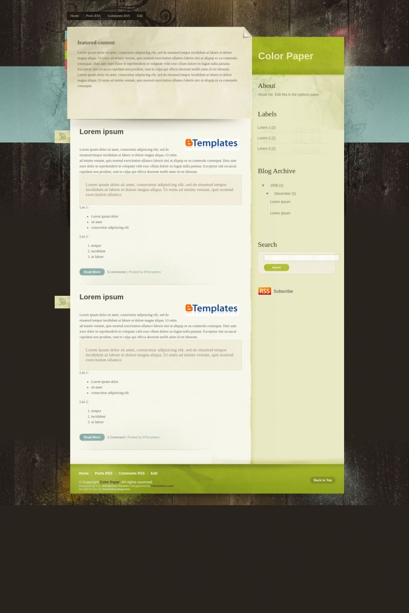 Download Color Paper Blogger Template