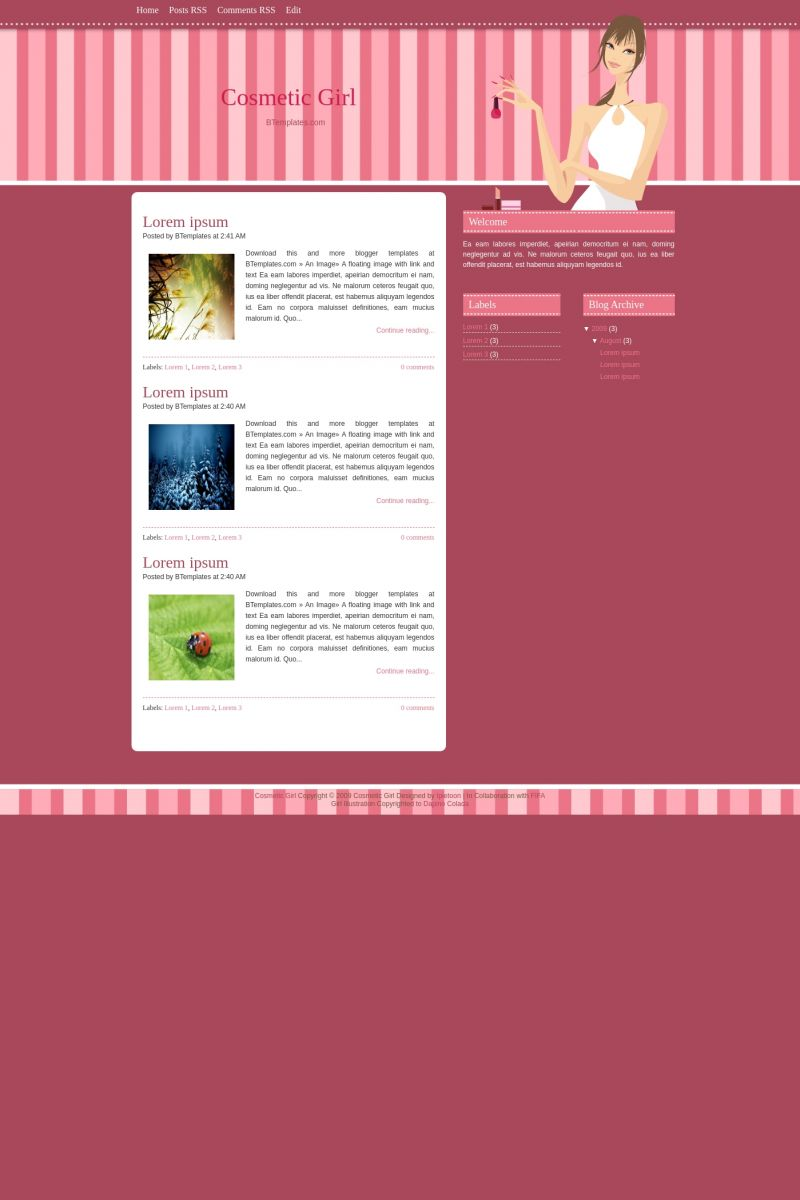 Download Cosmetic Girl Blogger Template