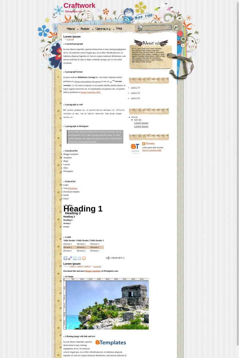 Download Craftwork Blogger Template