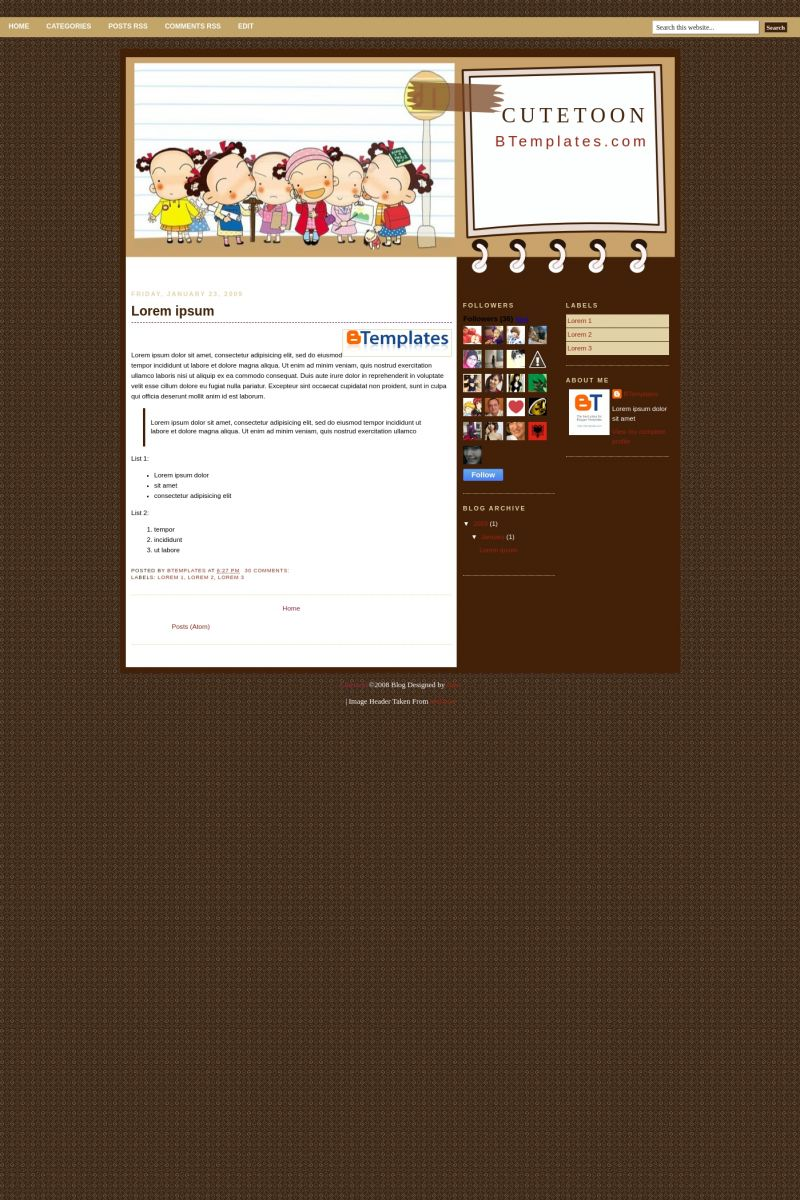 Download Cute Toon Blogger Template