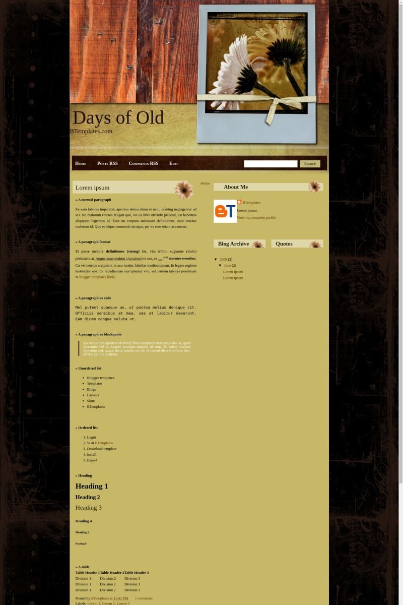 Download Days of Old Blogger Template