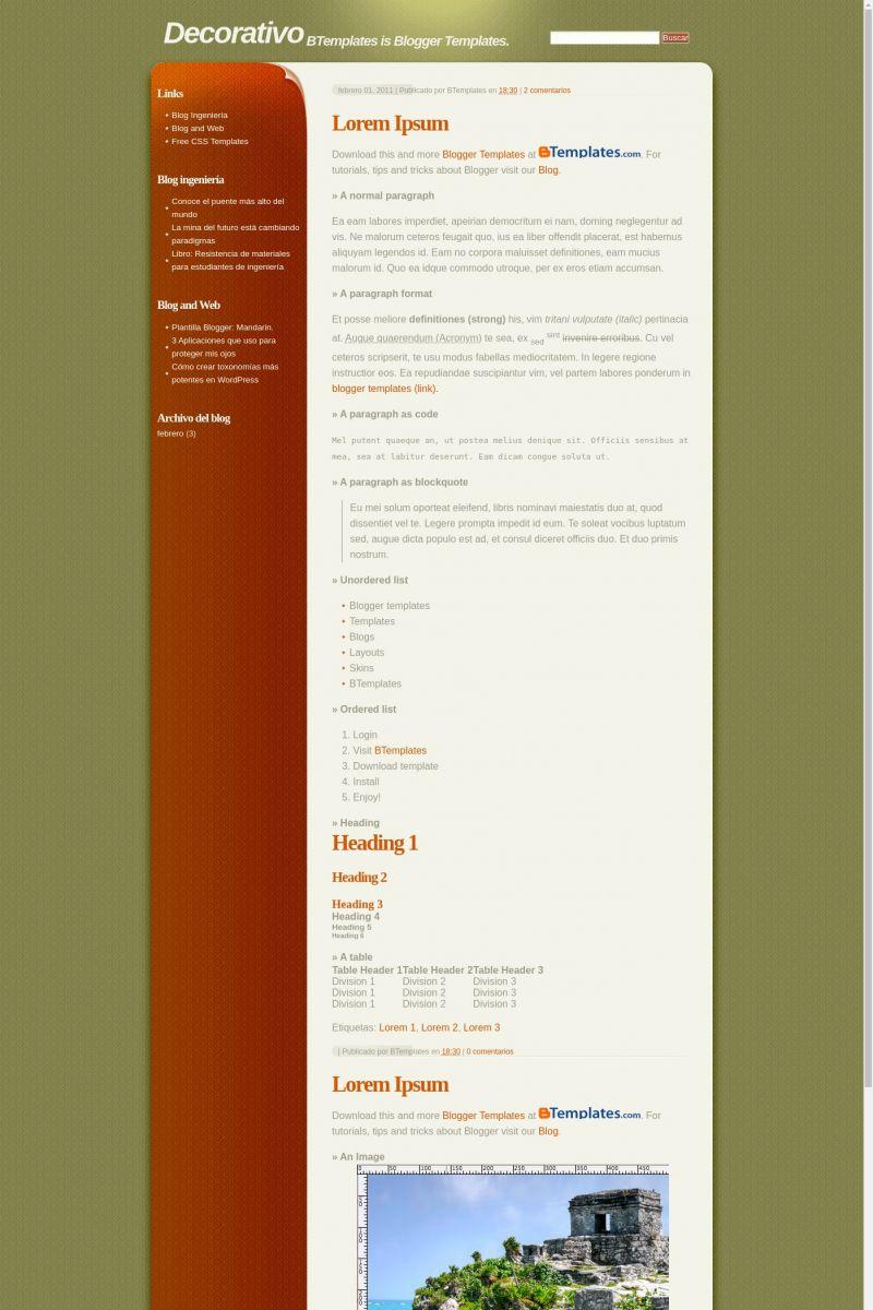 Download Decorativo Blogger Template
