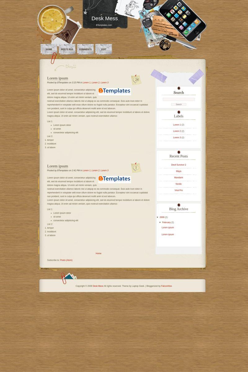 Download Desk Mess Blogger Template
