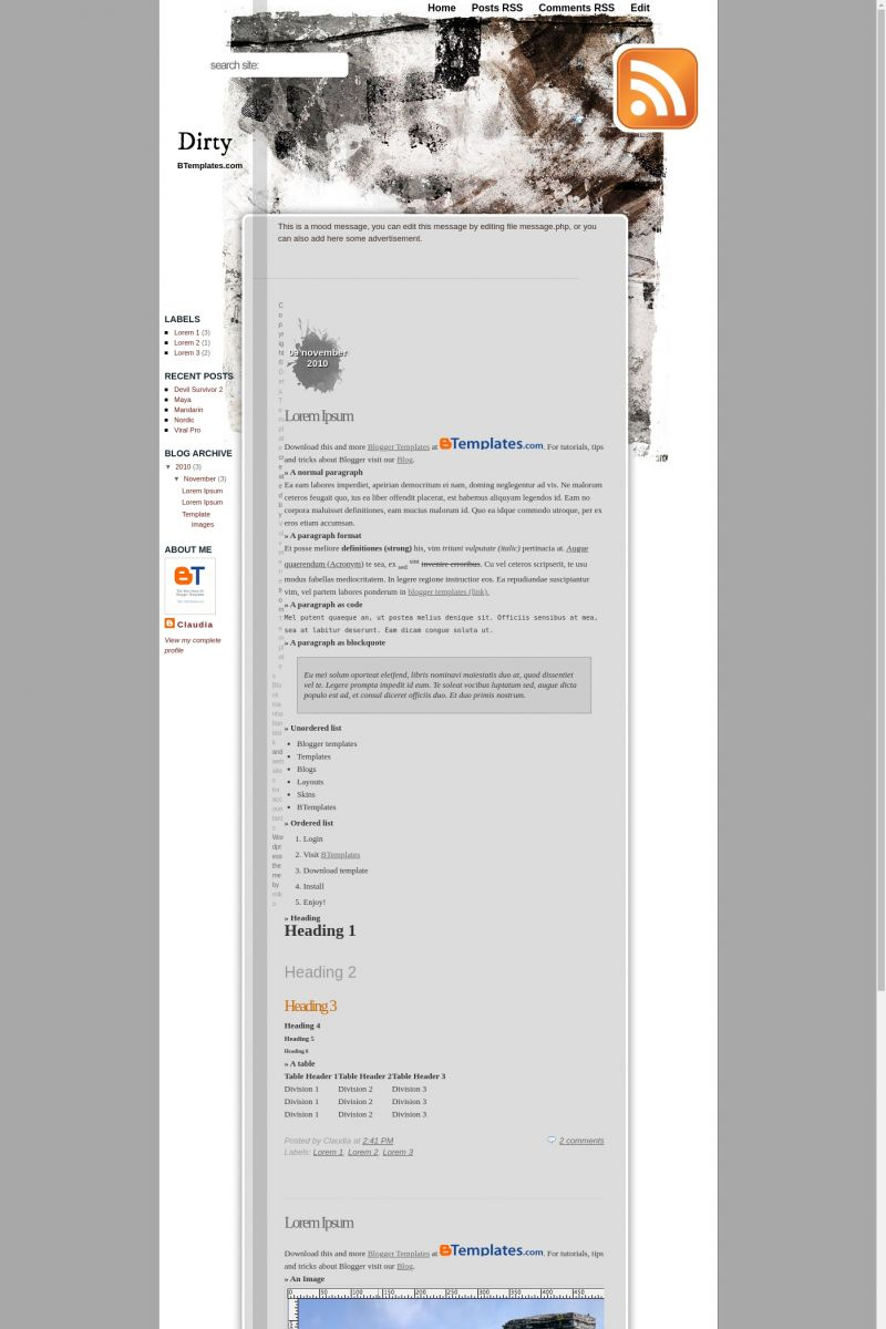 Download Dirty Blogger Template