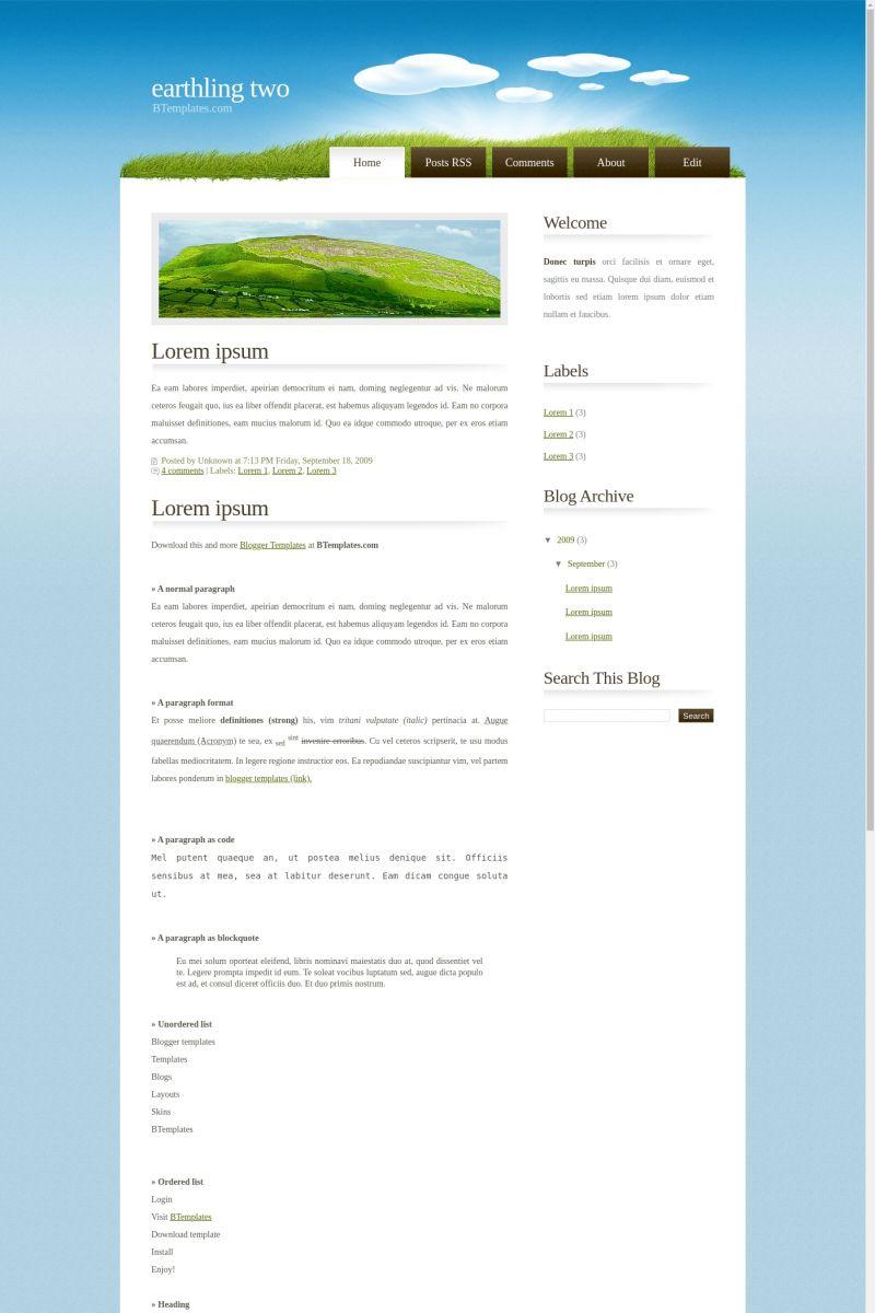 Download Earthling two Blogger Template