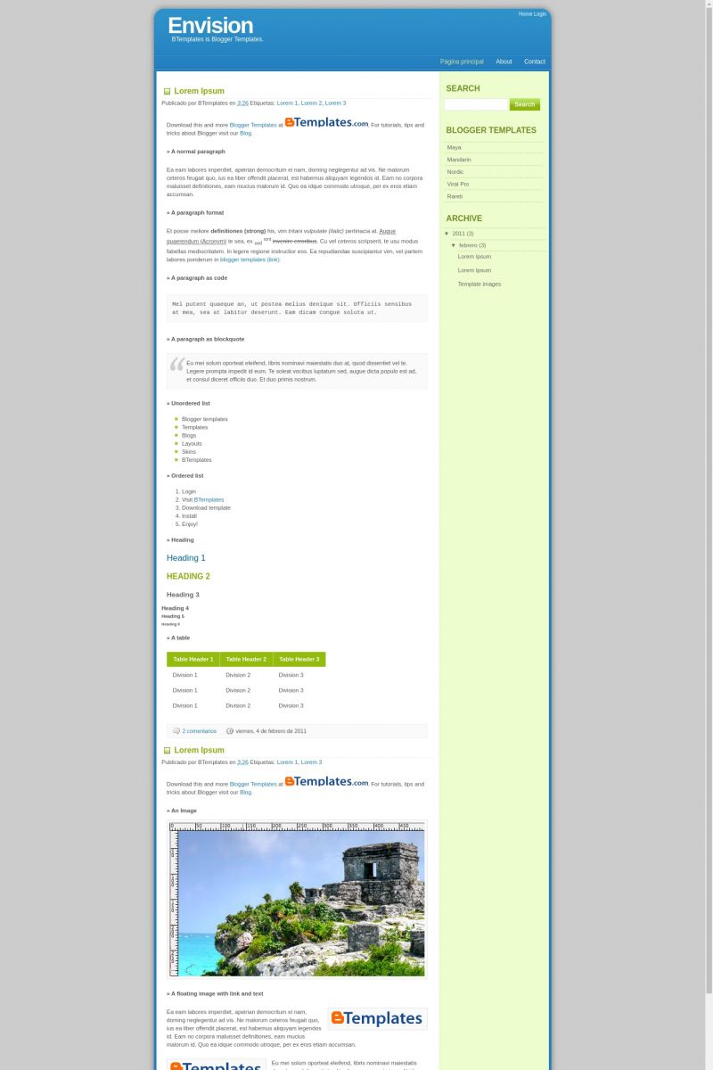 Download Envision Blogger Template