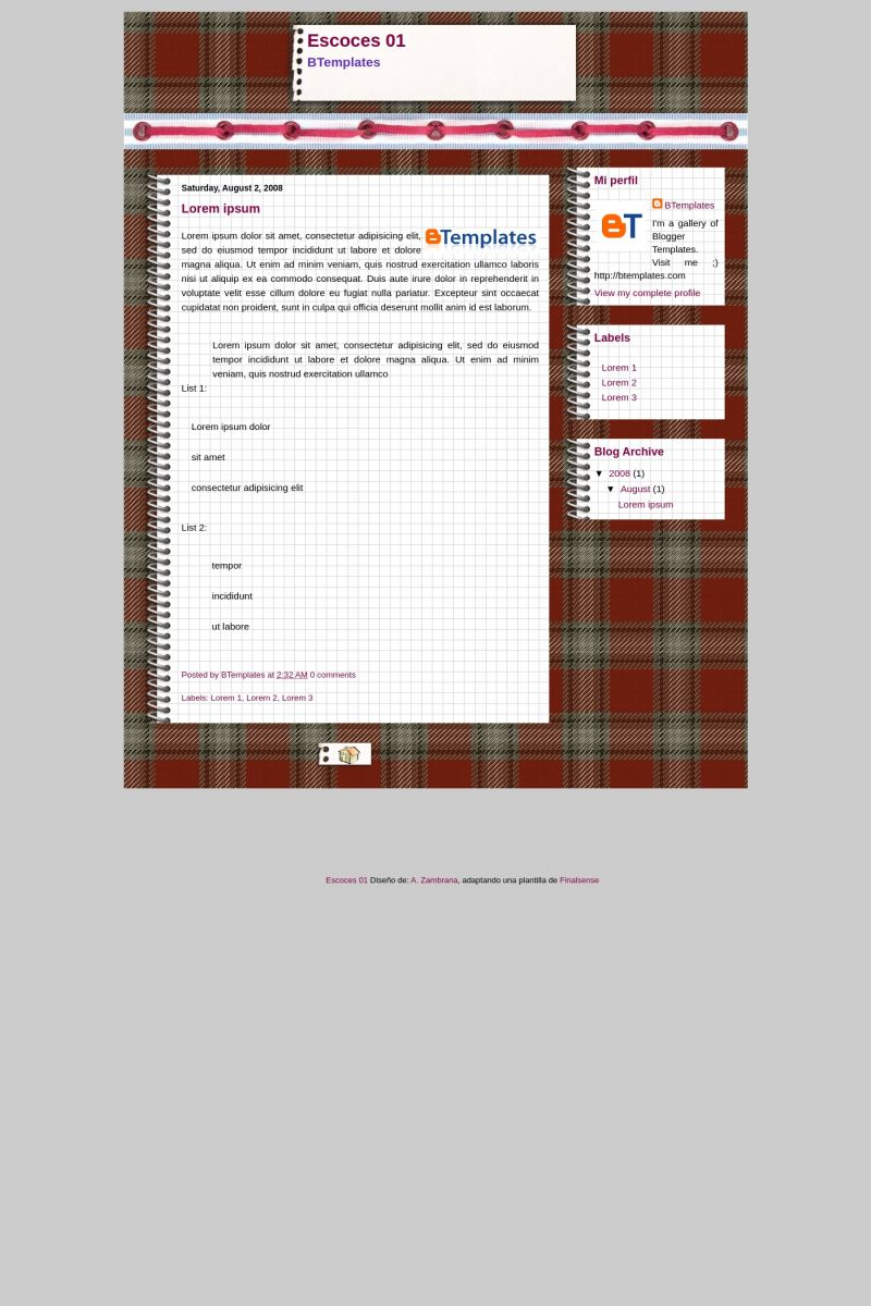 Download Escoces 01 Blogger Template