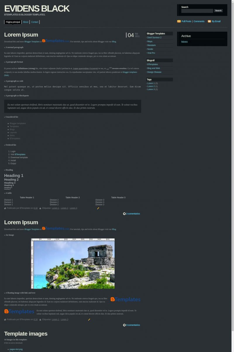 Download Evidens (Black) Blogger Template