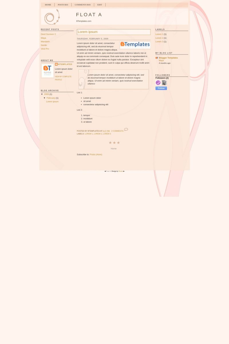 Download Float A Blogger Template