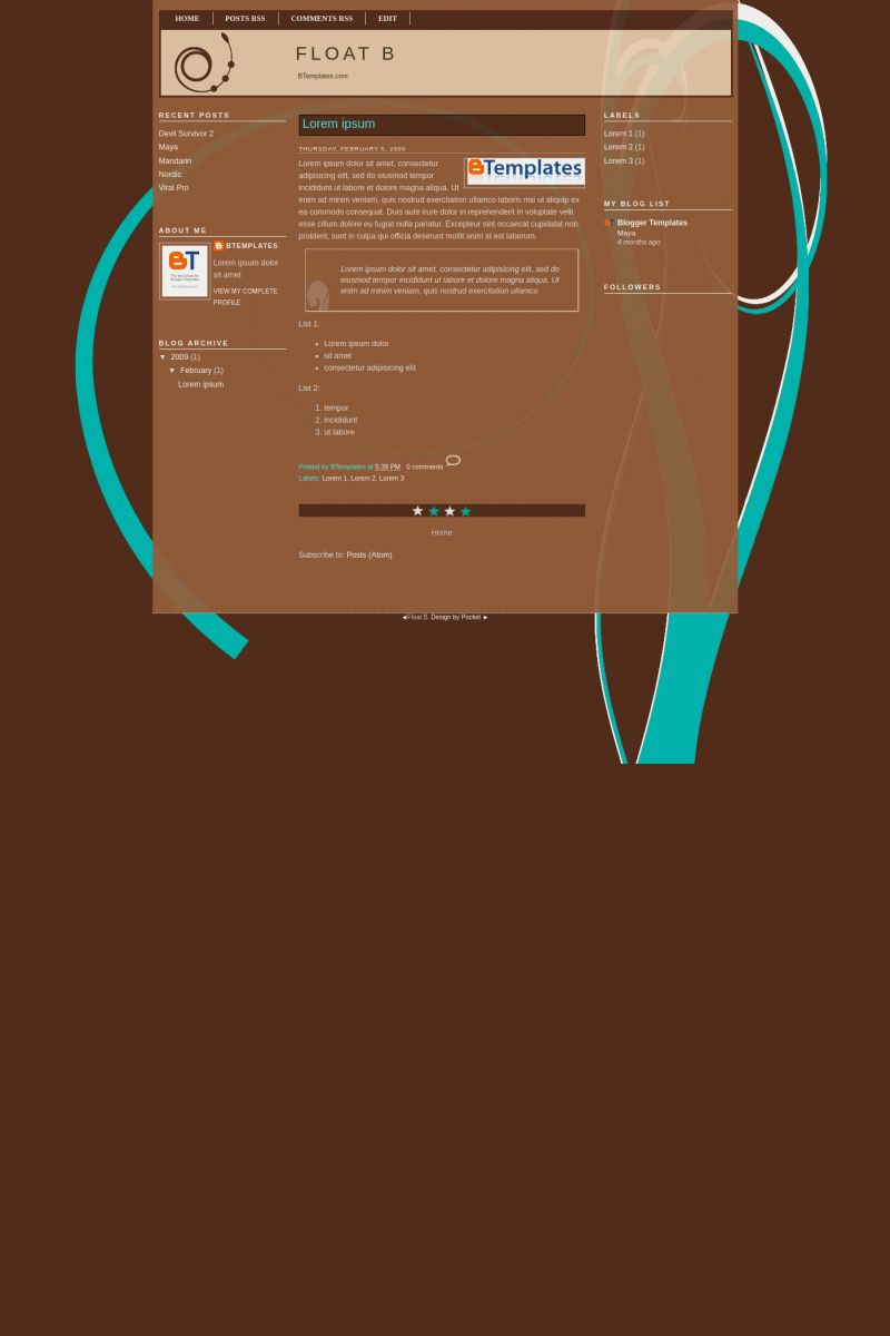 Download Float B Blogger Template