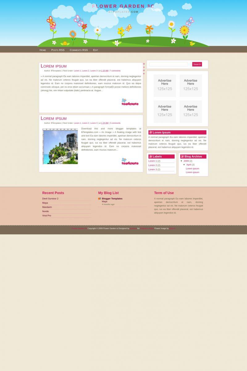 Download Flower Garden 3c Blogger Template