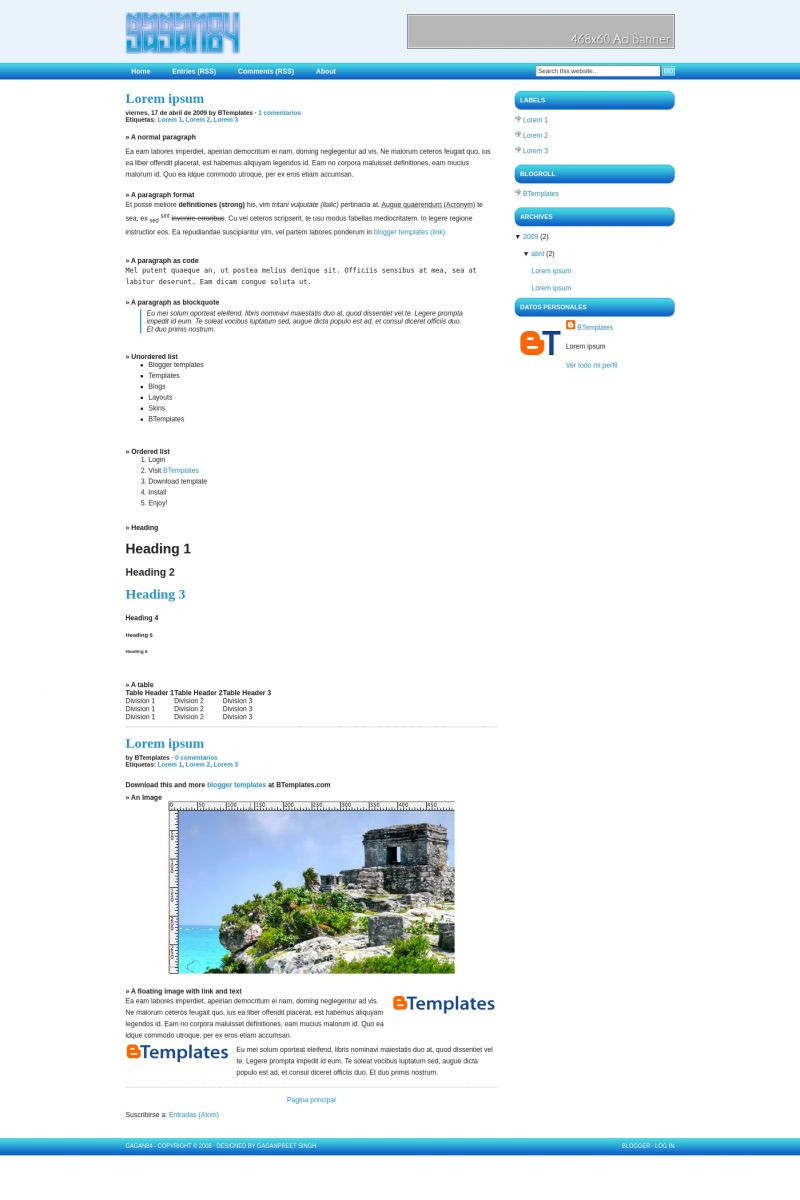 Download Gagan84 2c Blogger Template