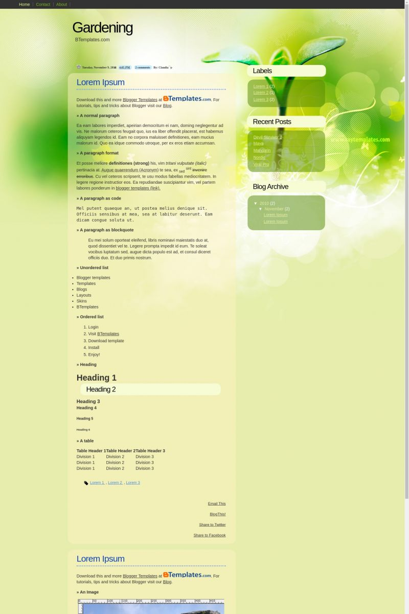Download Gardening Blogger Template