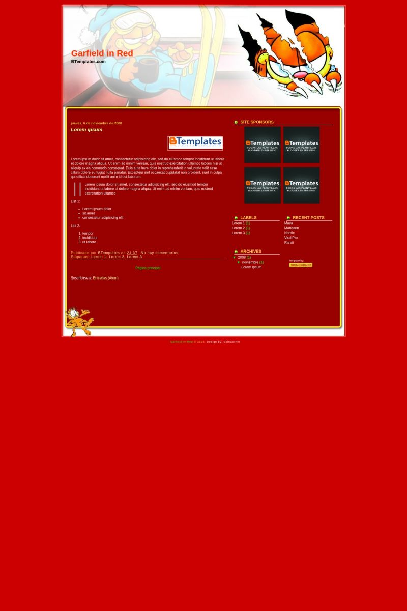 Download Garfield in Red Blogger Template