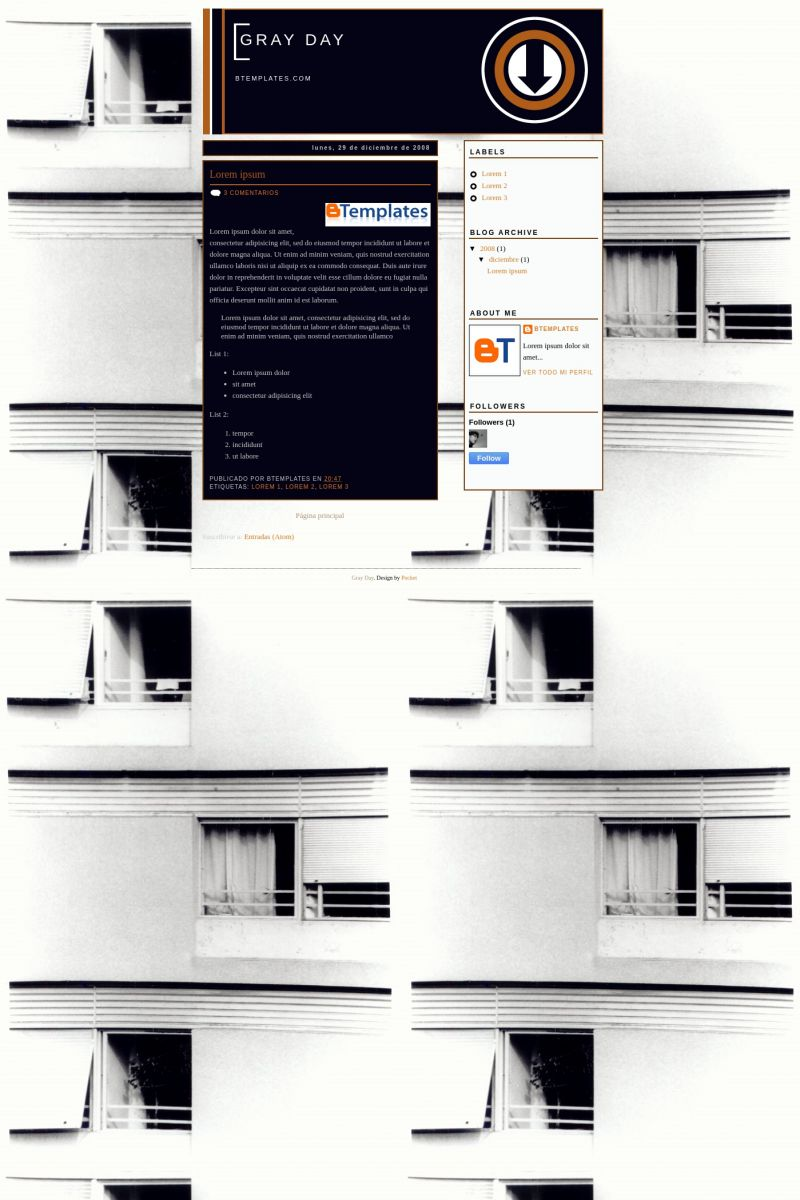 Download Gray Day Blogger Template