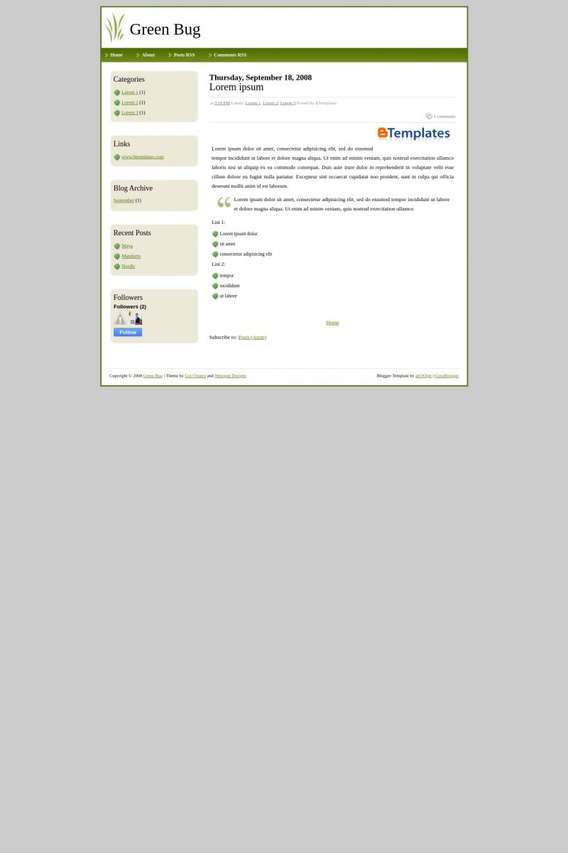 Download Green Bug Blogger Template