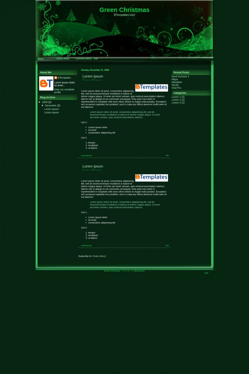 Download Green Christmas Blogger Template