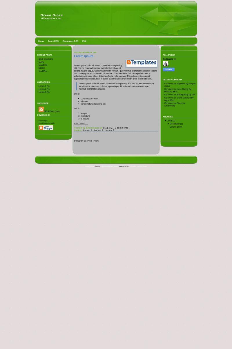 Download Green Gloss Blogger Template