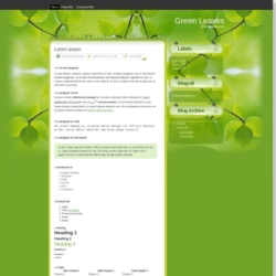 Green Leaves Blogger Template
