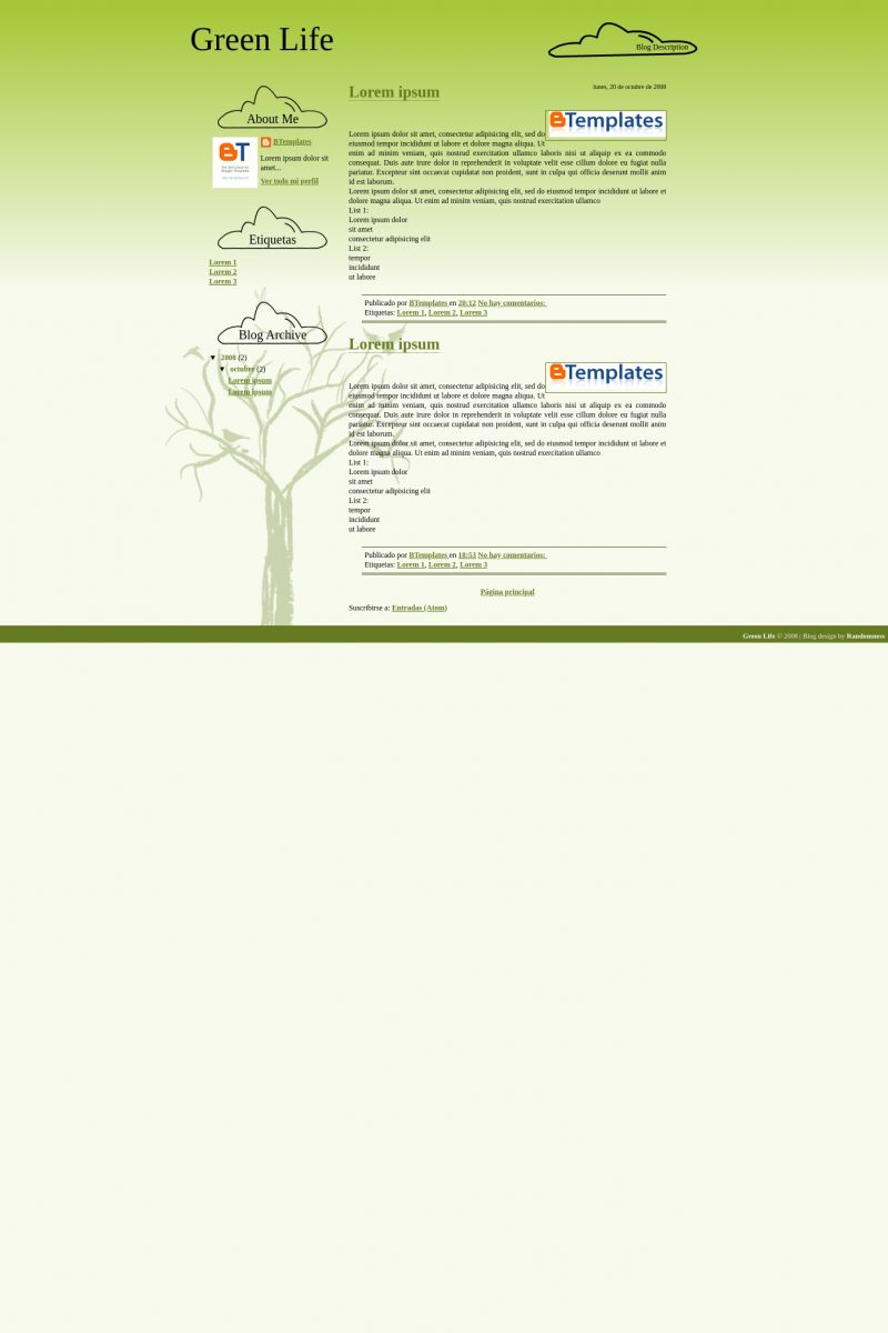 Download Green Life Blogger Template