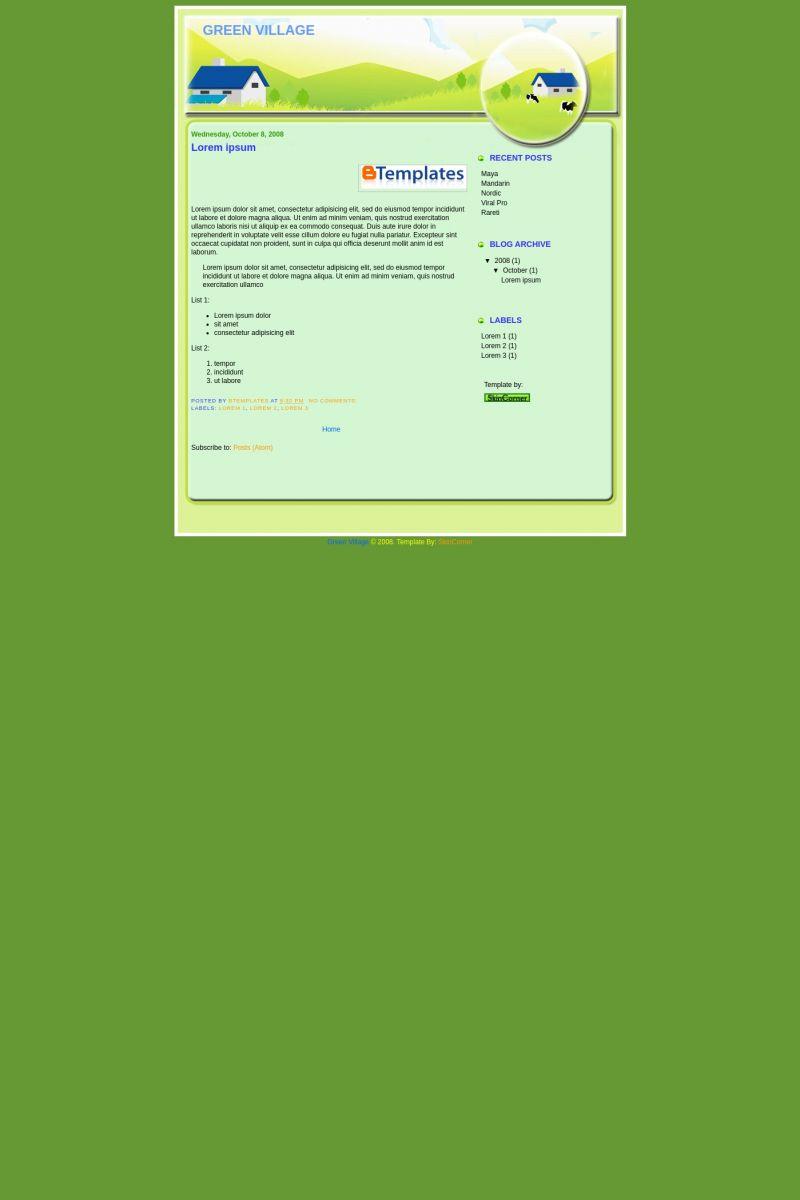 Download Green village Blogger Template