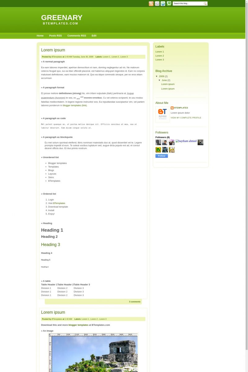 Download Greenary Blogger Template