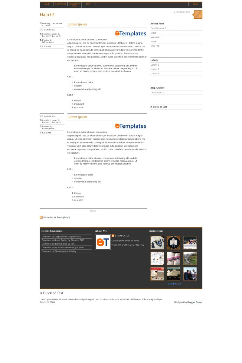 Download Halo 01 Blogger Template
