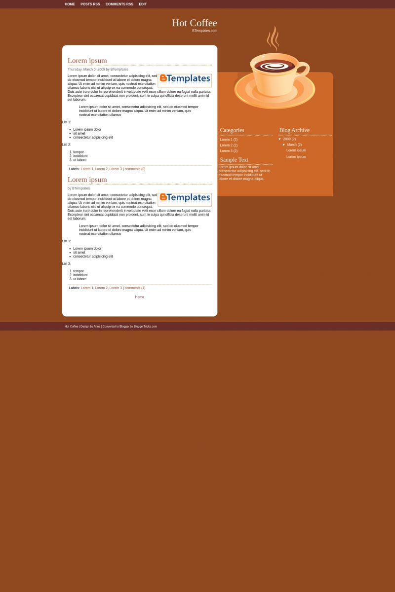 Download Hot Coffee Blogger Template