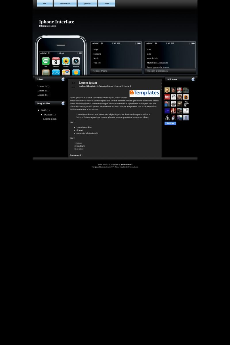 Download Iphone Interface Blogger Template