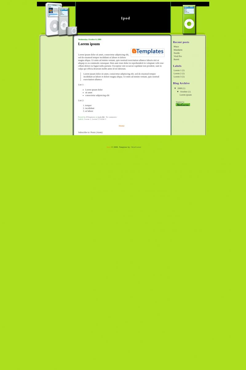 Download Ipod Blogger Template