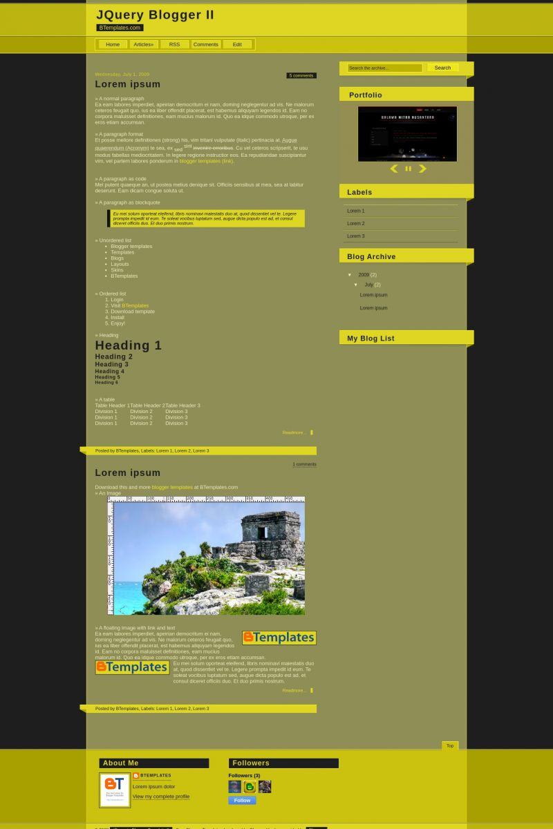 Download JQuery Blogger II Blogger Template