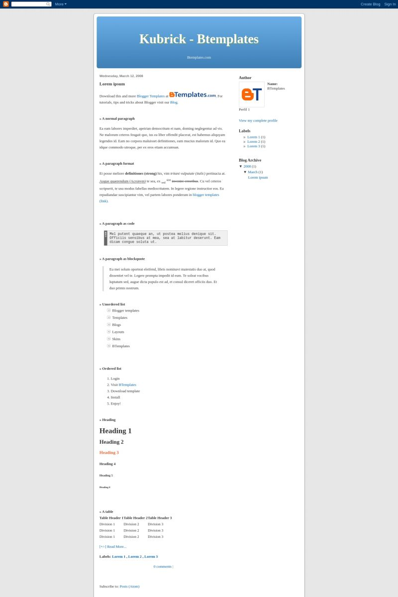 Download Kubrick Blogger Template