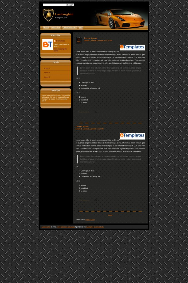 Download Lamborghini Blogger Template