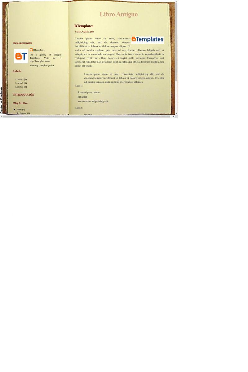 Download Libro Antiguo Blogger Template