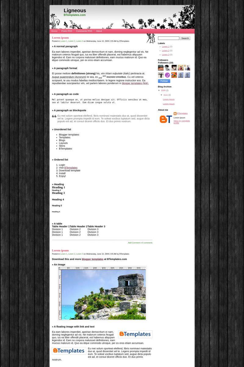 Download Ligneous Blogger Template