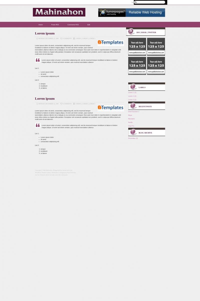 Download Mahinahon Blogger Template