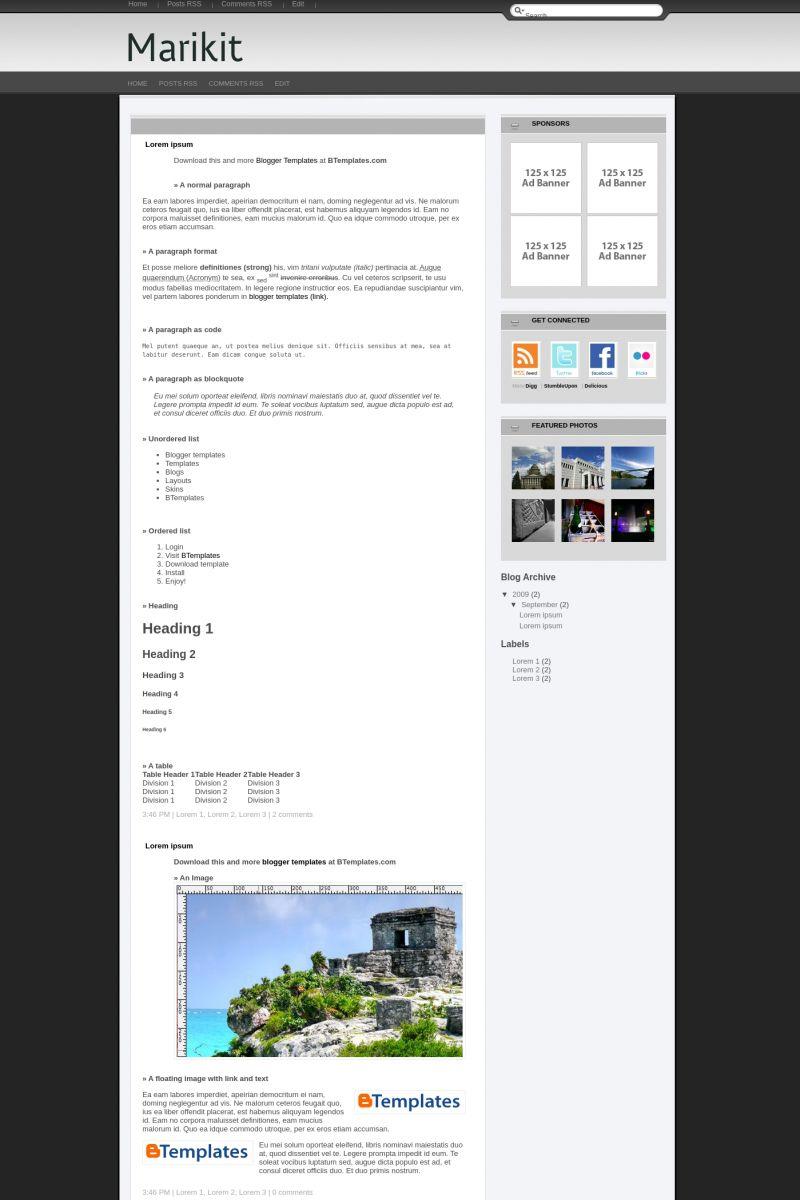 Download Marikit Blogger Template