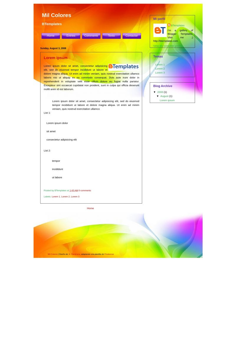 Download Mil Colores Blogger Template