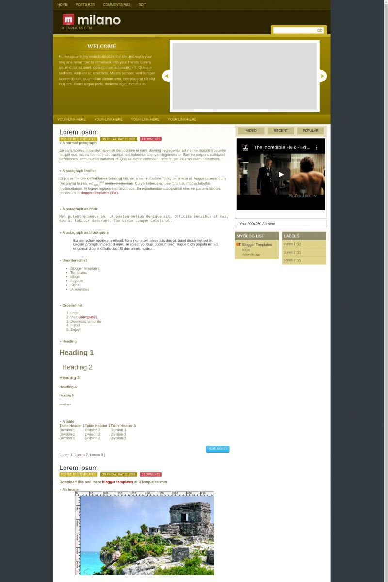 Download Milano Blogger Template