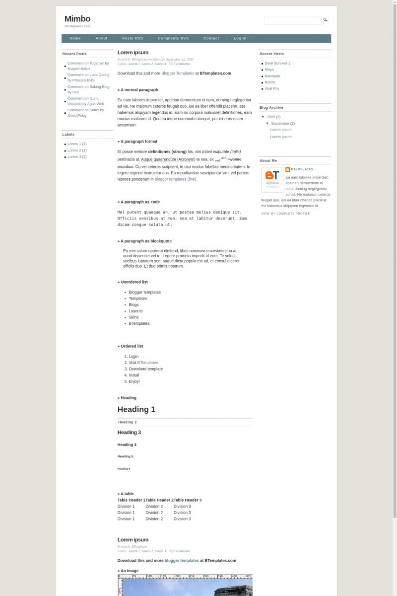 Download Mimbo Blogger Template