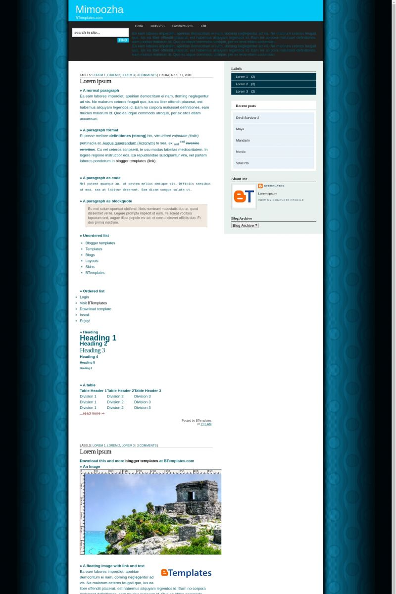 Download Mimoozha Blogger Template