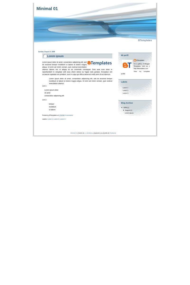 Download Minimal 01 Blogger Template