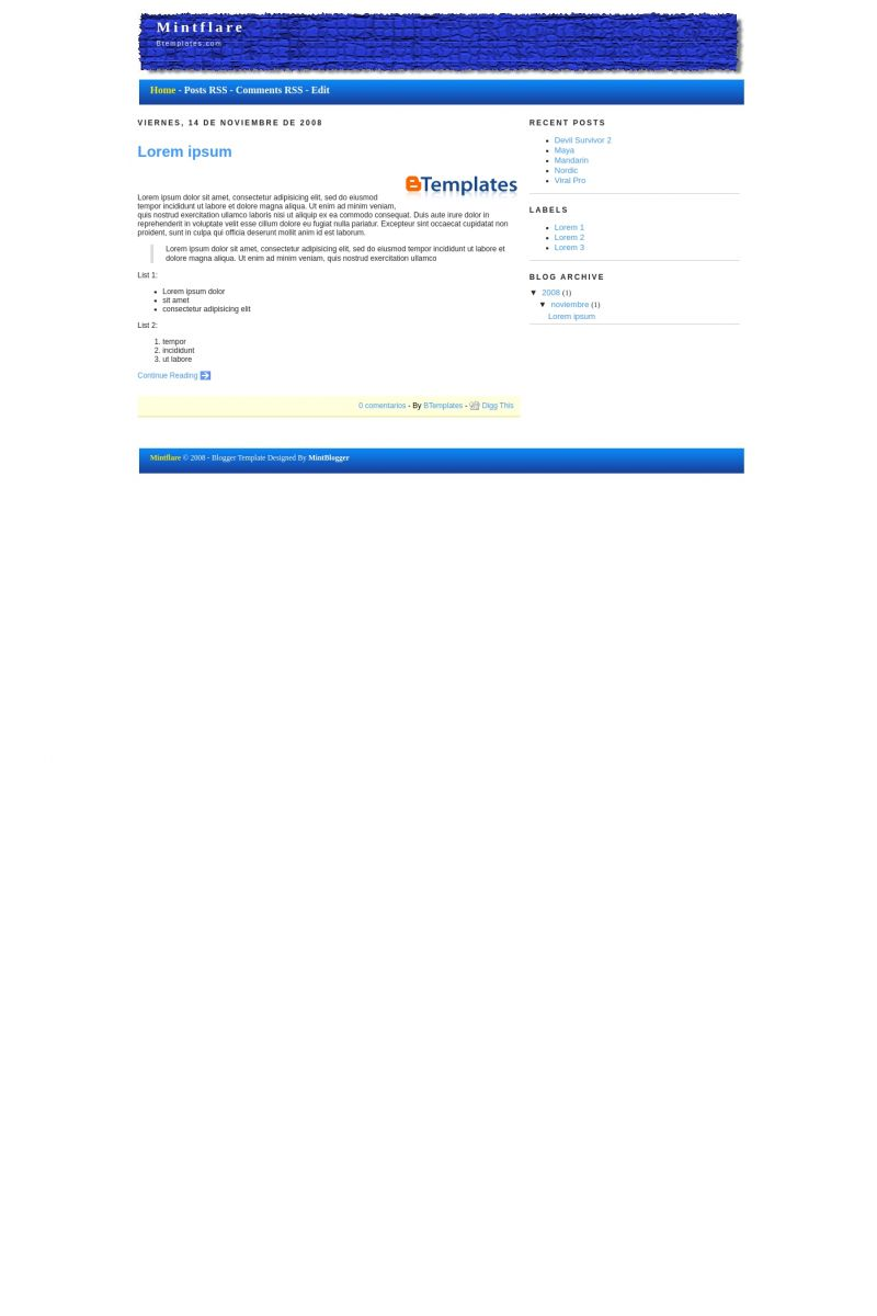 Download Mintflare Blogger Template
