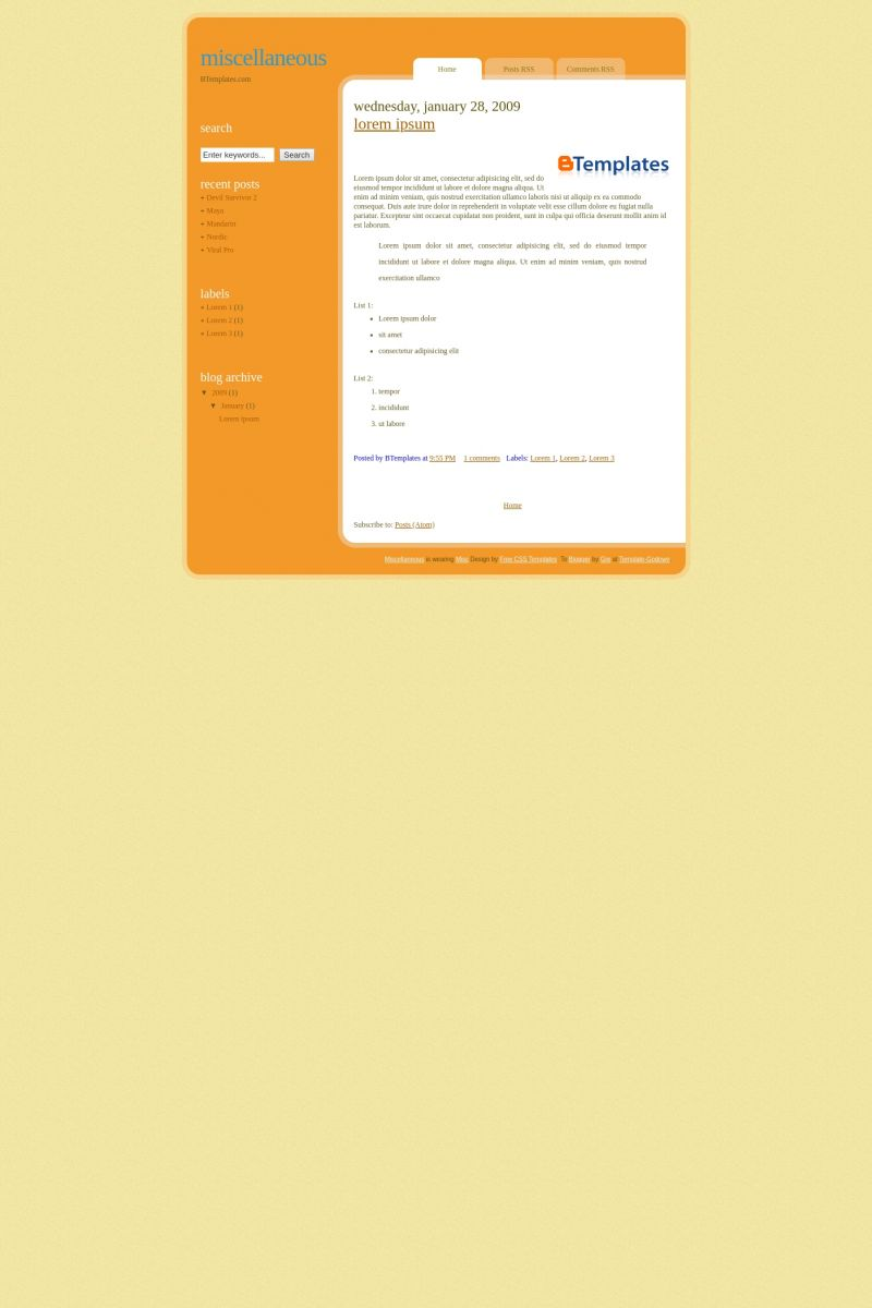 Download Miscellaneous Blogger Template