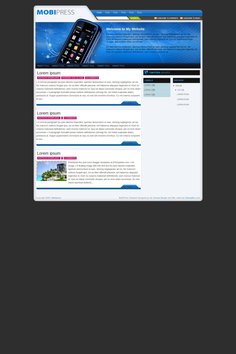 Download Mobipress Blogger Template