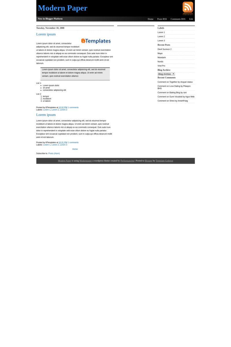 Download Modern Paper Blogger Template