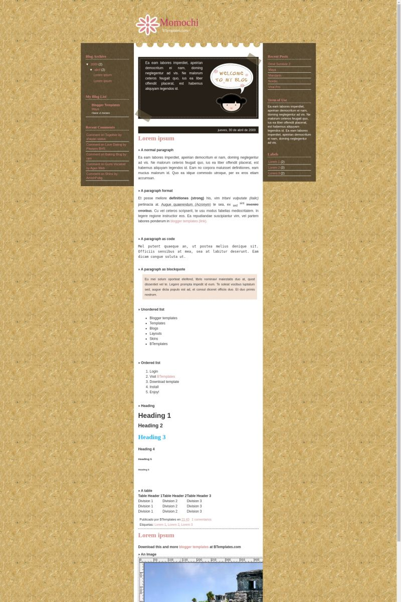 Download Momochi Blogger Template