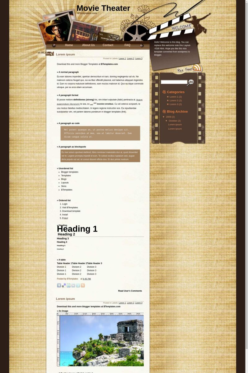 Download Movie Theater Blogger Template