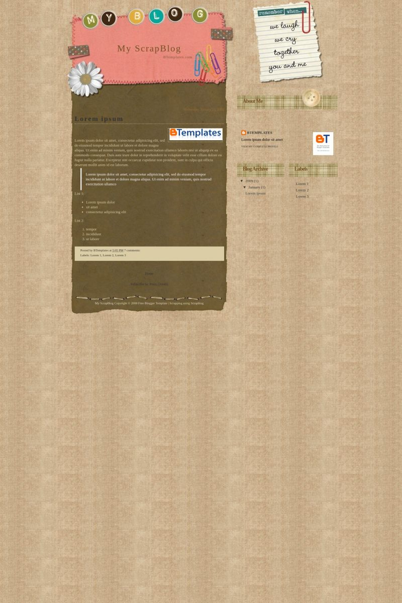 Download My Scrapblog Blogger Template