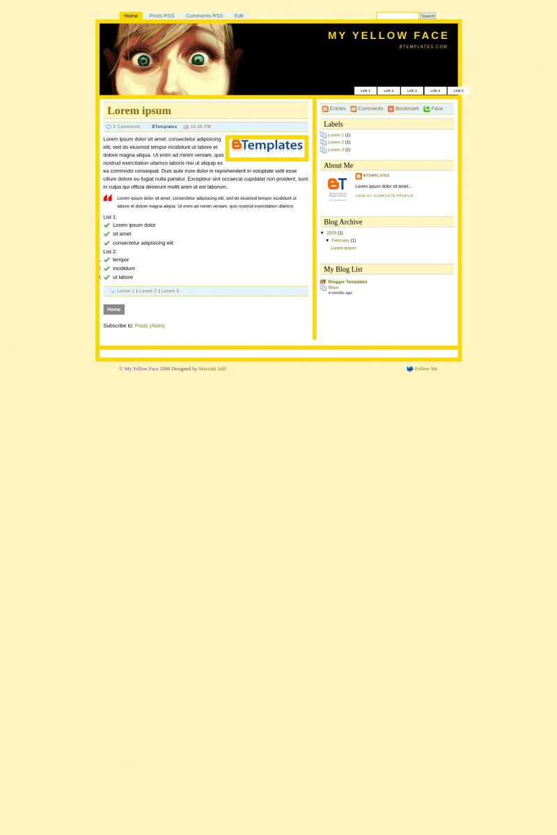 Download My Yellow Face Blogger Template